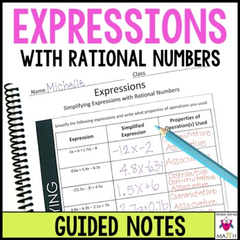 7th Grade Math Simplifying Expressions with Rational Numbers Guided Notes