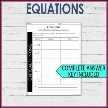 7th grade Math Solving Equations with Rational Numbers Guided Notes
