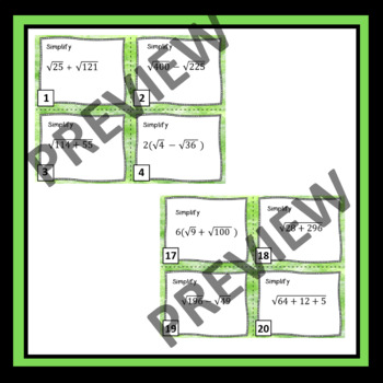 Simplifying Expressions with Square Roots Task Cards