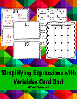 Simplifying Expressions with Variables Card Sort