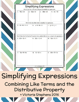 Simplifying Expressions with the Distributive Property and