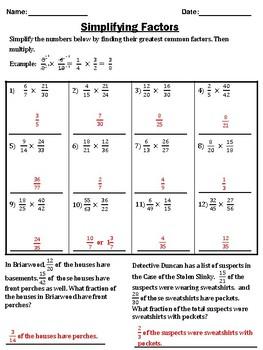 Simplifying Factors When Multiplying Fractions