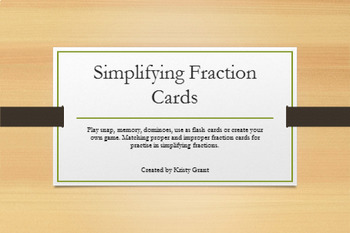 Simplifying Fractions Cards