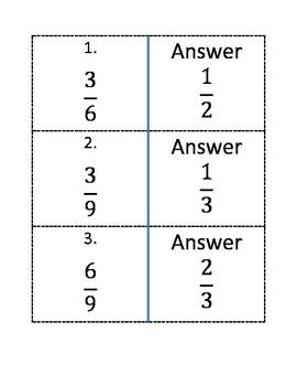 Simplifying Fraction Quiz-Quiz Trade