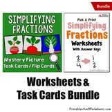 Simplifying Fractions Worksheets and Task Cards Bundle