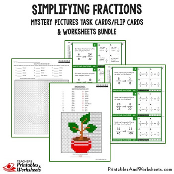 Simplifying Fractions Worksheets & Reducing Fractions Task Cards Bundle