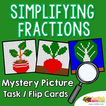 Reducing Fractions Mystery Pictures Task Cards