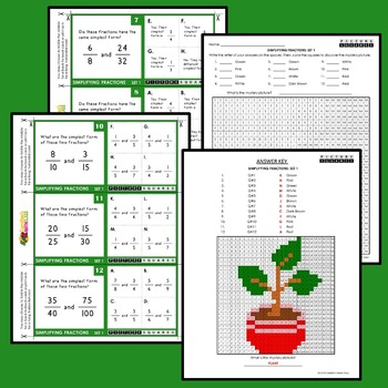 Simplifying Fractions Activity, Reducing Fractions Activities Mystery Pictures