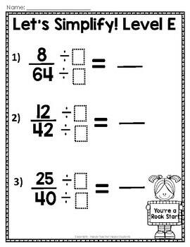 Simplifying Fractions: 6 Leveled Worksheets, Test (Quiz ...
