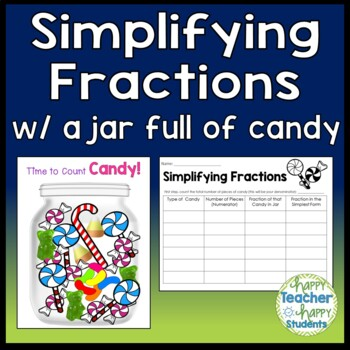 Simplifying Fractions Activity - Use Real Candy or included Candy Jar printable
