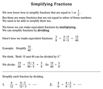 Simplifying Fractions, 4th grade - Individualized Math - worksheets
