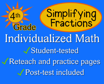 Simplifying Fractions, 4th grade - Individualized Math - w