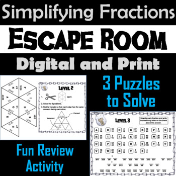 Simplifying Fractions Game: Escape Room Math