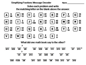 Simplifying Fractions Activity: Math Message Decoder