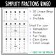 Simplify Fractions BINGO Math Game
