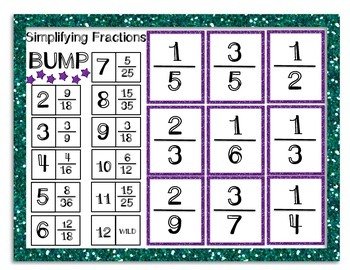 Simplifying Fractions Bump BUNDLE (3 Differentiated Levels)