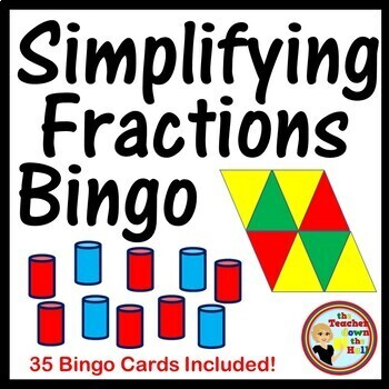 Fractions - Simplifying Fractions Bingo Classroom Activity w/ 35 Bingo Cards!