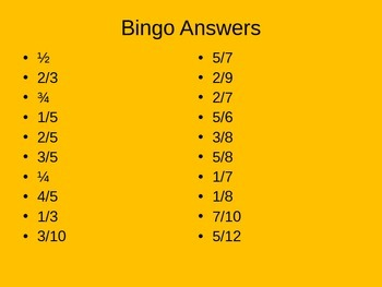 Simplifying Fractions Bingo Game