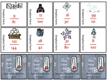 Simplifying Fractions Board Game - Winter Time Theme