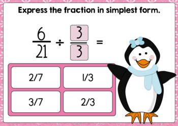 Simplifying Fractions Digital Boom Cards-Winter Theme