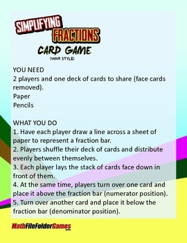 Simplifying Fractions Card Game (War Style)