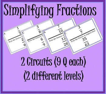 Simplifying Fractions Circuits (2 Circuits 9 Questions each)