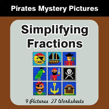 Simplifying Fractions - Color-By-Number Math Mystery Pictures