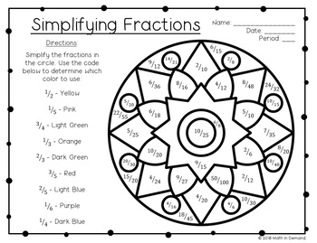 Simplifying Fractions Coloring Worksheet FREE by Math in Demand | TpT