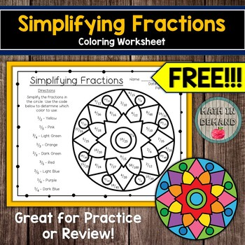 simplifying fractions coloring worksheet free by math in demand tpt. Black Bedroom Furniture Sets. Home Design Ideas