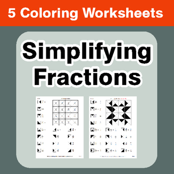 Simplifying Fractions - Coloring Worksheets