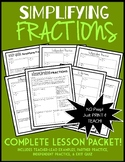 Simplifying Fractions: Complete 8-Page Lesson Packet + Exit Quiz