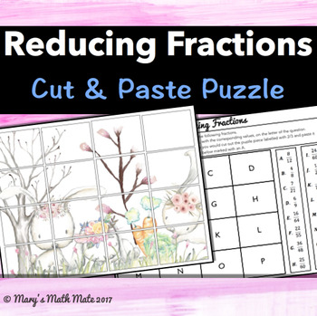Reducing Fractions: Cut & Paste Puzzle