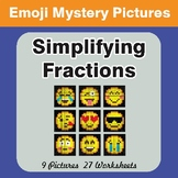 Simplifying Fractions EMOJI Mystery Pictures