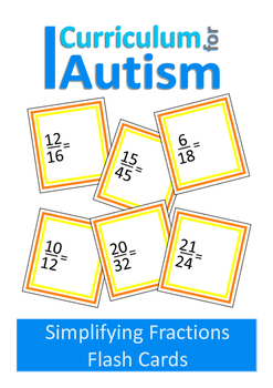 Simplifying Fractions Flash Cards, Autism, Special Educati