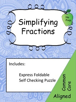 Simplifying Fractions: Graphic Organizer-Foldable and Activity