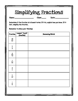 Simplifying Fractions Foldable