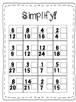 Simplifying Fractions Four In A Row Game