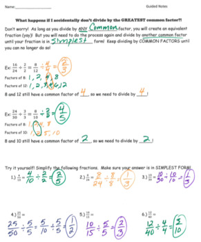 Simplifying Fractions GUIDED NOTES