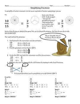Simplifying Fractions Handout