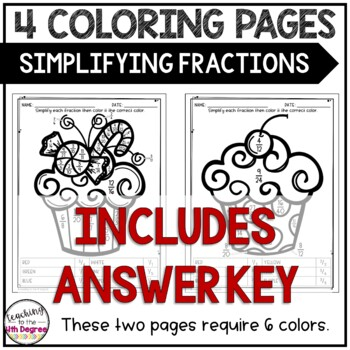 Simplifying Fractions: Holiday Coloring Pages