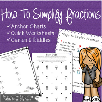 Simplifying Fractions & Improper Fractions {Anchor Charts w/Quick Worksheets}