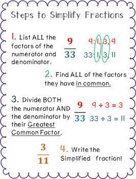 math worksheet : fractions  improper fractions anchor charts w quick worksheets : Worksheets On Simplifying Fractions