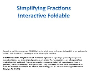 Simplifying Fractions Interactive Foldable