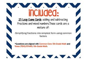 Simplifying Fractions Loop Card Game/Task Cards