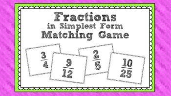 Simplifying Fractions Matching Game