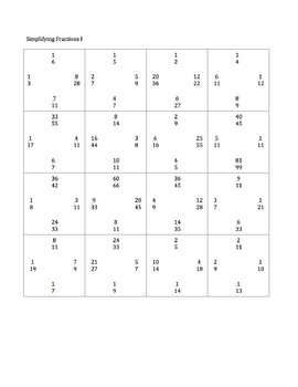 Simplifying Fractions Matching Puzzle