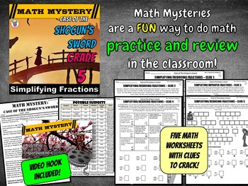 Simplifying Fractions Math Mystery (5th Grade) - Case of The Shogun's Sword