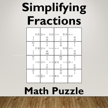 Simplifying Fractions Math Puzzle Game (Proper Fraction / Less than One)