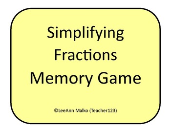 Simplifying/Reducing Fractions Memory Game