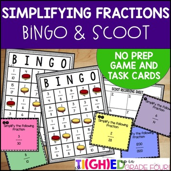 Simplifying Fractions {NO PREP Fraction BINGO Game and SCOOT Task Cards}